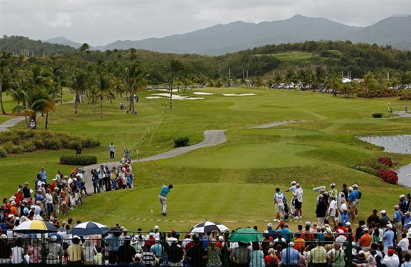 RIO GRANDE, PUERTO RICO - MARCH 15: Michael Bradley hits his tee shot on the 1st hole during the final round of the 2009 Puerto Rico Open presented by Banco Popular at the Trump International Golf Club March 15, 2009 in Rio Grande, Puerto Rico.  (Photo by Mike Ehrmann/Getty Images)