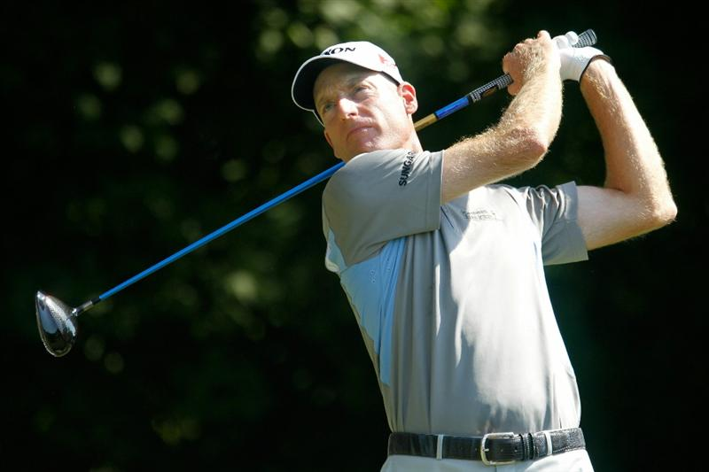 ATLANTA - SEPTEMBER 25:  Jim Furyk hits his tee shot on the third hole during the third round of THE TOUR Championship presented by Coca-Cola at East Lake Golf Club on September 25, 2010 in Atlanta, Georgia.  (Photo by Scott Halleran/Getty Images)