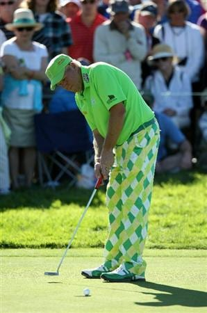 LA JOLLA, CA - JANUARY 28:  John Daly misses his birdie put on the 9th green during the second round of the Farmers Insurance Open at Torrey Pines on January 28, 2011 in La Jolla, California. (Photo by Donald Miralle/Getty Images)