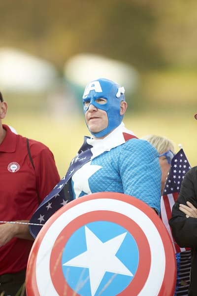 Captain America costume at the Solheim Cup
