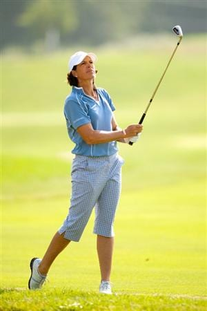 SPRINGFIELD, IL - JUNE 11: Juli Inkster follows through on an approach shot during the second round of the LPGA State Farm Classic at Panther Creek Country Club on June 11, 2010 in Springfield, Illinois. (Photo by Darren Carroll/Getty Images)