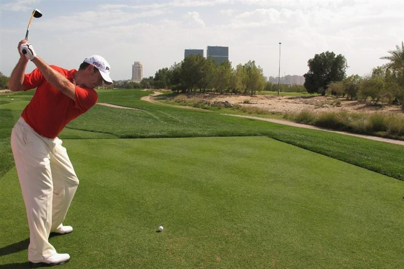 DOHA, QATAR - FEBRUARY 02:  Lee Westwood of England hits his tee-shot on the second hole during the Pro Am prior to start of the Commercialbank Qatar Masters held at Doha Golf Club on February 2, 2011 in Doha, Qatar.  (Photo by Andrew Redington/Getty Images)