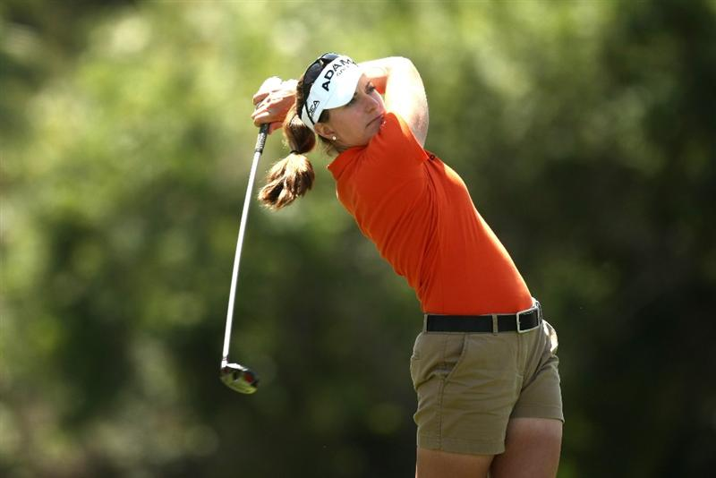 RANCHO MIRAGE, CA - APRIL 02:  Brittany Lang hits her tee shot on the sixth hole during the first round of the Kraft Nabisco Championship at Mission Hills Country Club on April 2, 2009 in Rancho Mirage, California.  (Photo by Stephen Dunn/Getty Images)