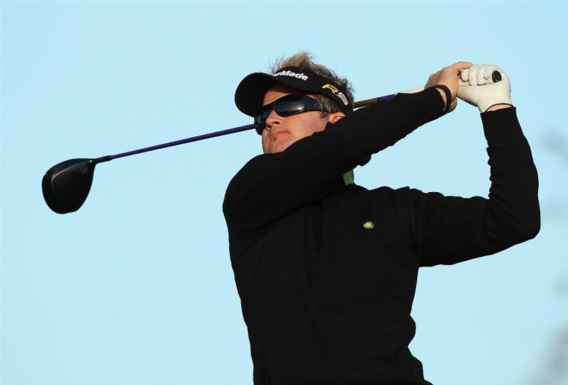 SCOTTSDALE, AZ - FEBRUARY 05:  Brian Gay hits a tee shot on the third hole during the third round of the Waste Management Phoenix Open at TPC Scottsdale on February 5, 2011 in Scottsdale, Arizona.  (Photo by Christian Petersen/Getty Images)