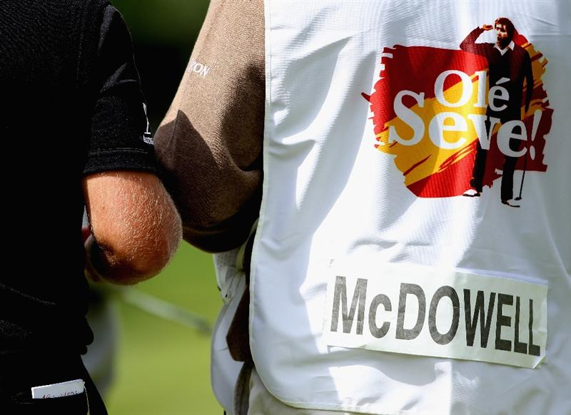 VIRGINIA WATER, ENGLAND - MAY 23:  A close-up of Graeme McDowell's caddie bib during the 'Ole Seve' Pro-Am in aid of the Seve Ballesteros Foundation at Wentworth Club on May 23, 2011 in Virginia Water, England.  (Photo by Andrew Redington/Getty Images)