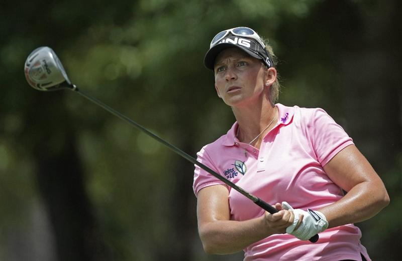 MOBILE, AL - MAY 15:  Angela Stanford watches her drive from the third tee during third round play in the Bell Micro LPGA Classic at the Magnolia Grove Golf Course on May 15, 2010 in Mobile, Alabama.  (Photo by Dave Martin/Getty Images)
