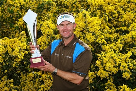 PLENEUF-VAL-ANDRE, FRANCE - APRIL 26:  Joakim Haeggman of Sweden poses with the trophy after winning the AGF-Allianz Open Cotes d'Armour Bretagne by one stroke at Golf Blue-Green Pleneuf-Val Andre on April 26, 2008 in Pleneuf-Val Andre, France.  (Photo by Warren Little/Getty Images)