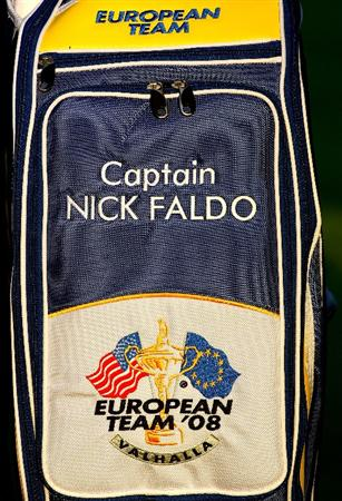 LOUISVILLE, KY - SEPTEMBER 16:  A detail picture of the bag of the European team captain Nick Faldo during the European Team photo shoot prior to the start of the 2008 Ryder Cup at Valhalla Golf Club of September 16, 2008 in Louisville, Kentucky.  (Photo by Andrew Redington/Getty Images)