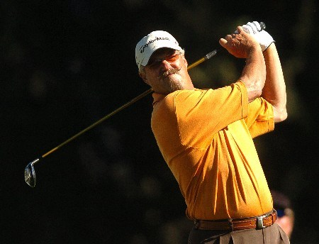 Gary McCord tees off on the second hole during the first round of the Champions' Tour 2005 SBC Classic at  the Valencia Country Club in Valencia, California March 11, 2005.
