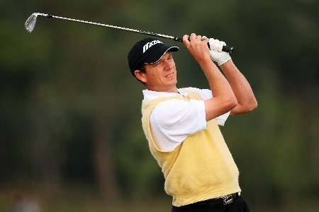 SHANGHAI, CHINA - NOVEMBER 10: Andrew Mclardy of South Africa plays his 3rd shot on the 2nd during Day 3 of the HSBC Champions at the Sheshan Golf Club on November 10, 2007 in Shanghai, China.  (Photo by Andrew Redington/Getty Images)