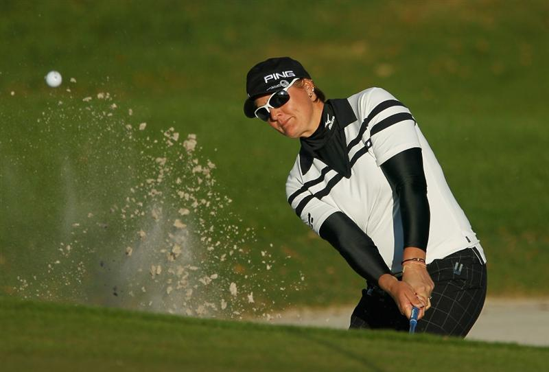 ORLANDO, FL - DECEMBER 04:  Maria Hjorth of Sweden hits a bunker shot on 14th hole during the third round of the LPGA Tour Championship at the Grand Cypress Resort on December 4, 2010 in Orlando, Florida.  (Photo by Scott Halleran/Getty Images)