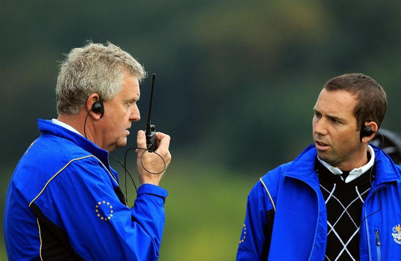 NEWPORT, WALES - OCTOBER 03:  Europe Captain Colin Montgomerie (L) looks on with Vice Captain Sergio Garcia during the  Fourball & Foursome Matches during the 2010 Ryder Cup at the Celtic Manor Resort on October 3, 2010 in Newport, Wales.  (Photo by David Cannon/Getty Images)