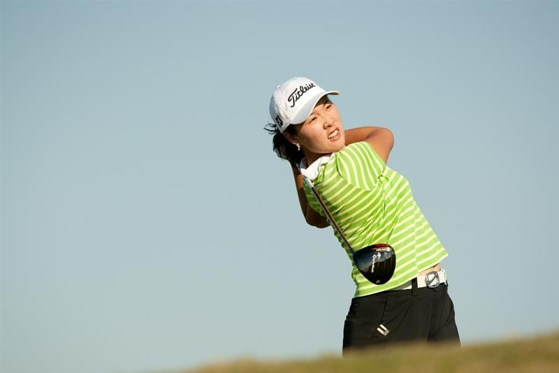 PRATTVILLE, AL - OCTOBER 7: Haeji Kang of South Korea follows through on a tee shot during the first round of the Navistar LPGA Classic at the Senator Course at the Robert Trent Jones Golf Trail at Capitol Hill on October 7, 2010 in Prattville, Alabama. (Photo by Darren Carroll/Getty Images)