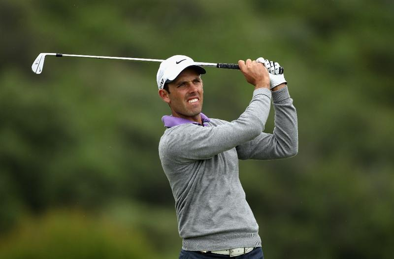 CASARES, SPAIN - MAY 18:  Charl Schwartzel of South Africa plays his second shot into the 11th green during the pro-am of the Volvo World Match Play Championship at Finca Cortesin on May 18, 2011 in Casares, Spain.  (Photo by Warren Little/Getty Images)