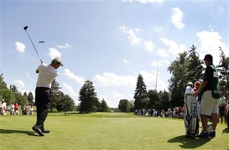 GRAND BLANC, MI - JUNE 28: Daniel Chopra hits his tee shot on the 13th hole  during the third round of the Buick Open at Warwick Hills Golf and Country Club on June 28, 2008 in Grand Blanc, Michigan.  (Photo by Gregory Shamus/Getty Images)