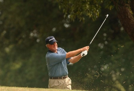 John Harris hits from the 10th fairway rough during the final round of the Champion's TOUR 2005 SBC Championship at Oak Hill Country Club in San Antonio, Texas October 23, 2005.Photo by Steve Grayson/WireImage.com