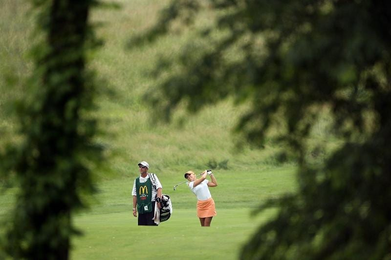 HAVRE DE GRACE, MD - JUNE 11:  Natalie Gulbis hits her second shot on the 6th hole during the first round of the McDonald's LPGA Championship at Bulle Rock Golf Course on June 11, 2009 in Havre de Grace, Maryland.  (Photo by Andy Lyons/Getty Images)