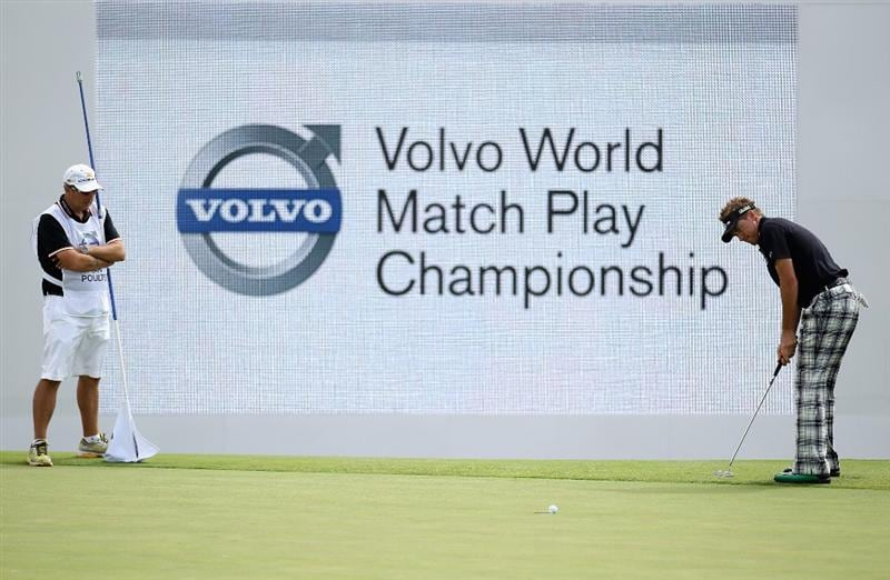 CASARES, SPAIN - MAY 20:  Ian Poulter of England putts on the 18th green during the group stages of the Volvo World Match Play Championships at Finca Cortesin on May 20, 2011 in Casares, Spain.  (Photo by Warren Little/Getty Images)