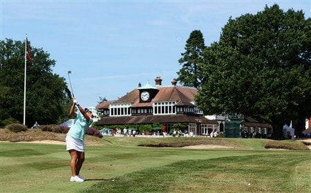 SUNNINGDALE, UNITED KINGDOM - JULY 30:  Ai Miyazato of Japan plays her appraoch shot into the 18th green during practice for the 2008 Ricoh Women's British Open at Sunningdale Golf Club on July 30, 2008 in Sunningdale, England.  (Photo by Warren Little/Getty Images)