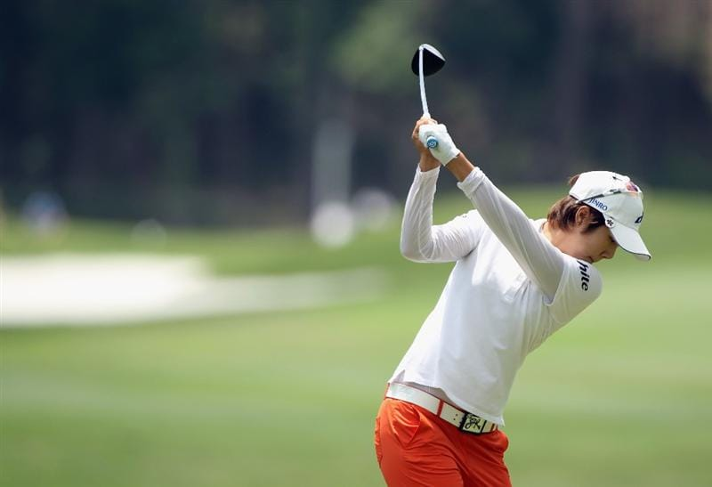 MOBILE, AL - MAY 01:  Song-Hee Kim of South Korea hits her tee shot on the fifth hole during the final round of the Avnet LPGA Classic at the Crossings Course at the Robert Trent Jones Trail at Magnolia Grove on May 1, 2011 in Mobile, Alabama.  (Photo by Scott Halleran/Getty Images)