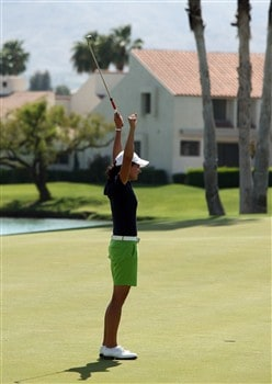 RANCHO MIRAGE, CA - APRIL 06:  Lorena Ochoa of Mexico holes her winning putt on the green at the 18th hole during the final round of the Kraft Nabisco Championship at the Mission Hills Country Club, on April 6, 2008 in Rancho Mirage, California.  (Photo by David Cannon/Getty Images)
