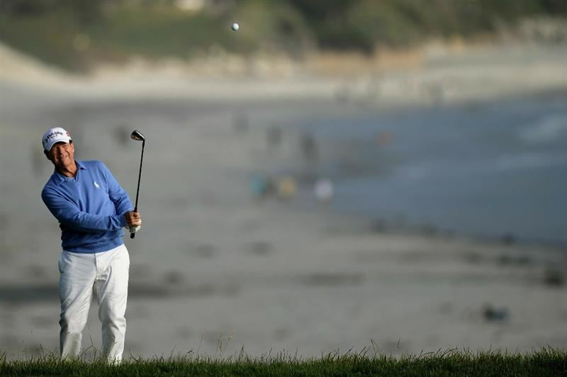 PEBBLE BEACH, CA - JUNE 17:  Tom Watson hits a shot from the rough on the ninth hole during the first round of the 110th U.S. Open at Pebble Beach Golf Links on June 17, 2010 in Pebble Beach, California.  (Photo by Harry How/Getty Images)
