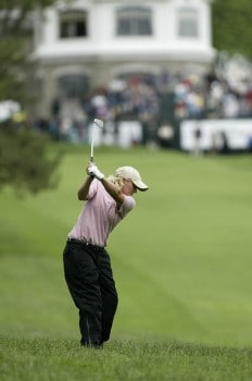 Becky Morgan hits her secong shot from the rough on 18during the second round of the 2005 Wegman's Rochester LPGA at Locust Hill Country Club in  Pittsford, New York on June 17, 2005.Photo by Michael Cohen/WireImage.com