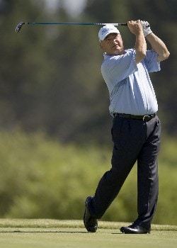 SUNRIVER, OR - AUGUST 15:  David Eger hits his tee shot at the fourth hole during the second round of the Champions Tour JELD-WEN Tradition at the Crosswater Club on August 15, 2008 in Sunriver, Oregon. (Photo by Steven Gibbons/Getty Images)