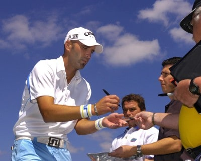 Hank Kuehne signs an autograph during the Golden Eagle Pro Am at the 2006 Honda Classic at the Country Club at Mirasol in Palm Beach Gardens, Florida on Wednesday, March 8, 2006.Photo by Al Messerschmidt/WireImage.com