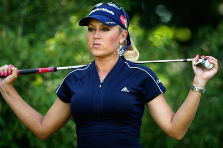 EVIAN, FRANCE - JULY 26:  Natalie Gulbis of USA waits to tee-off on the second hole during the third round of the Evian Masters at the Evian Masters Golf Club on July 26, 2008 in Evian, France.  (Photo by Andrew Redington/Getty Images)