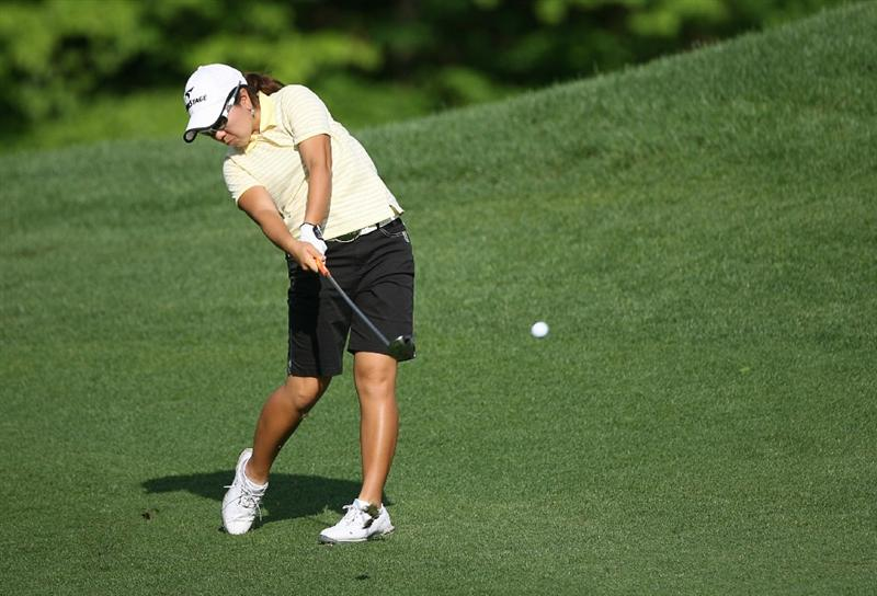 WILLIAMSBURG, VA - MAY 07:  Mika Miyazato of Japan hits her second shot on the 8th hole during the first round of the Michelob Ultra Open at Kingsmill Resort on May 7, 2009 in Williamsburg, Virginia.  (Photo by Hunter Martin/Getty Images)