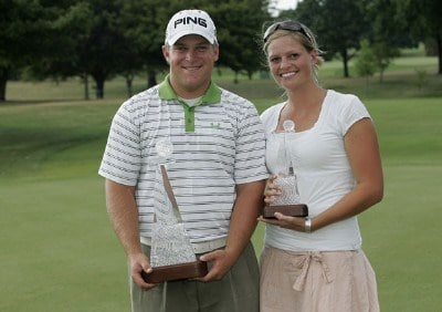 COLUMBUS, OH - JULY 15: Daniel Summerhays and wife Emily pose with the trophies after he won the Nationwide Children's Hospital Invitational on the Scarlet Course at Ohio State University Golf Club in Columbus, Ohio on July 15, 2007. (Photo by Michael Cohen/WireImage) *** Local Caption *** Daniel Summerhays Nationwide Tour - 2007 Children's Hospital Invitational - Final RoundPhoto by Michael Cohen/WireImage) *** Local Caption *** Daniel Summerhays