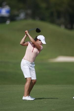 PRATTVILLE, AL - OCTOBER 1:  Lorena Ochoa of Mexico hits her drive from the 13th tee during first round play in the Navistar LPGA Classic at the Robert Trent Jones Golf Trail at Capitol Hill on October 1, 2009 in  Prattville, Alabama.  (Photo by Dave Martin/Getty Images)