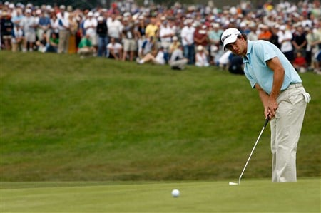 SAN DIEGO - JUNE 13:  Adam Scott of Australia putts on the 11th green during the second round of the 108th U.S. Open at the Torrey Pines Golf Course (South Course) on June 13, 2008 in San Diego, California.  (Photo by Jeff Gross/Getty Images)