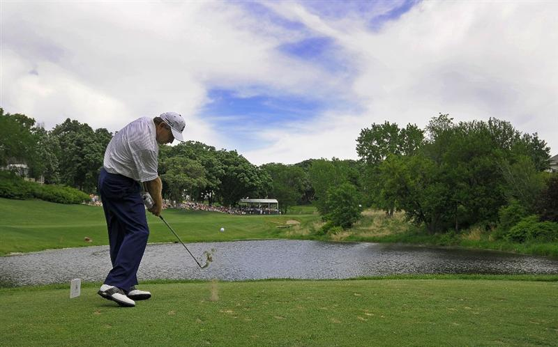 WEST DES MOINES, IA - MAY 31:  Nick Price tees off the par three 5th hole during the third and final round of the Principal Charity Classic held at the Glen Oaks Country Club on May 31, 2009 in West Des Moines, Iowa. (Photo by Marc Feldman/Getty Images)
