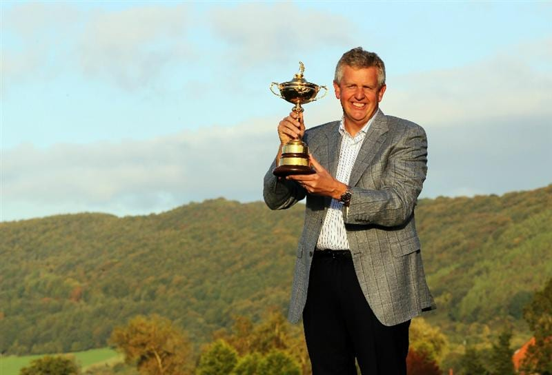 NEWPORT, WALES - OCTOBER 04:  European Team Captain Colin Montgomerie poses with the Ryder Cup following Europe's 14.5 to 13.5 victory over the USA at the 2010 Ryder Cup at the Celtic Manor Resort on October 4, 2010 in Newport, Wales.  (Photo by Jamie Squire/Getty Images)