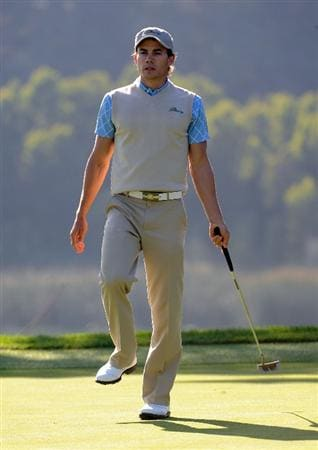 SAN FRANCISCO - OCTOBER 09:  Camilo Villegas of the International Team reacts to a missed putt on the 14th hole during the Day Two Fourball Matches of The Presidents Cup at Harding Park Golf Course on October 9, 2009 in San Francisco, California.  (Photo by Harry How/Getty Images)