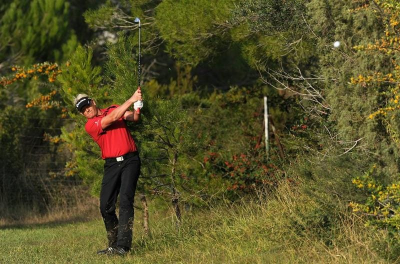 CASTELLON DE LA PLANA, SPAIN - OCTOBER 22:  Peter Hedblom of Sweden plays his approach shot on the nineth hole during the second round of the Castello Masters Costa Azahar at the Club de Campo del Mediterraneo on October 22, 2010 in Castellon de la Plana, Spain.  (Photo by Stuart Franklin/Getty Images)