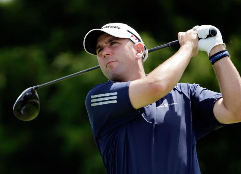 OVERLAND PARK, KS - AUGUST 22:  Josh Teater of the USA hits his first shot on the 4th hole during the third round of the Nationwide Christmas in October Classic on August 22, 2009 at Lions Gate Golf Club in Overland Park, Kansas.  (Photo by Jamie Squire/Getty Images)