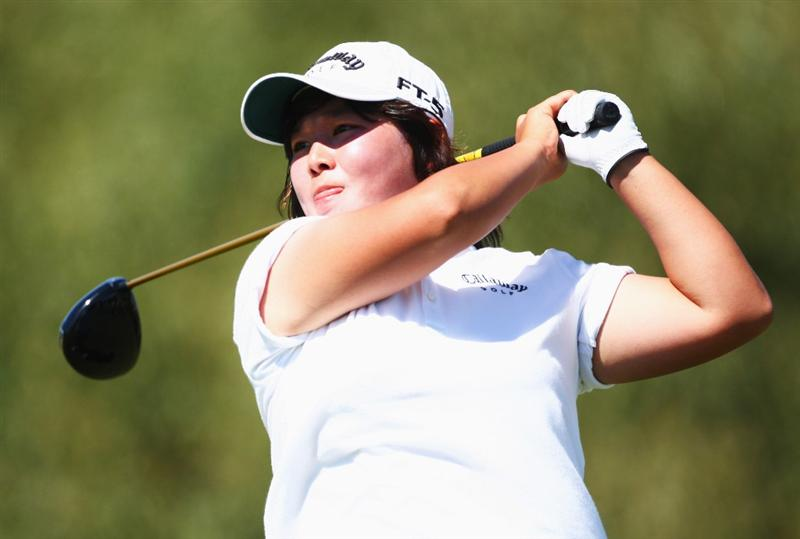 CHRISTCHURCH, NEW ZEALAND - JANUARY 31:  Jenny Park of Korea tees off on the eighth hole during day two of the New Zealand Women`s Open held at Clearwater Golf Course January 31, 2009 in Christchurch, New Zealand.  (Photo by Sandra Mu/Getty Images)