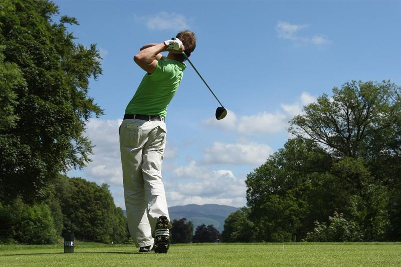 LUSS, UNITED KINGDOM - JULY 11:  Scott Drummond of Scotland tees off on the 16th hole during the Third Round of The Barclays Scottish Open at Loch Lomond Golf Club on July 11, 2009 in Luss, Scotland. (Photo by Andrew Redington/Getty Images)