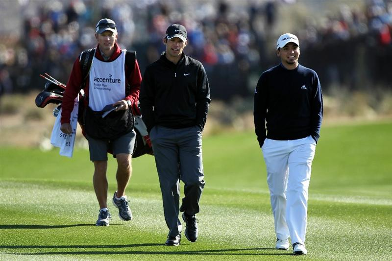MARANA, AZ - FEBRUARY 24:  Caddie Christian Donald, Paul Casey of England and Jason Day of Australia walk the fairway on the first hole during the second round of the Accenture Match Play Championship at the Ritz-Carlton Golf Club on February 24, 2011 in Marana, Arizona.  (Photo by Andy Lyons/Getty Images)
