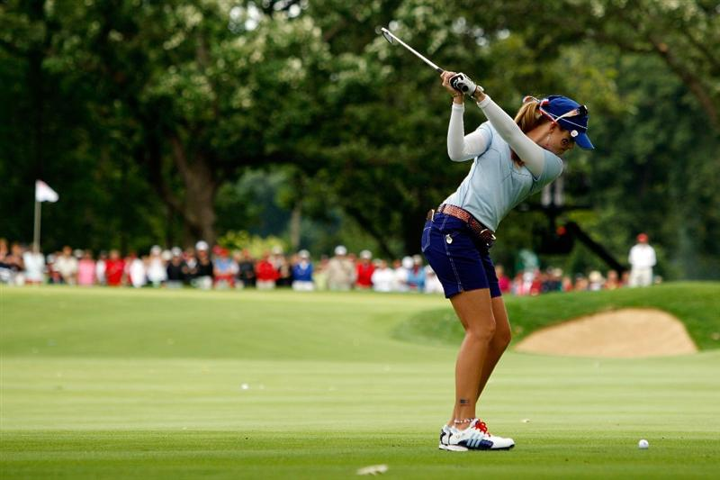 SUGAR GROVE, IL - AUGUST 21:  Paula Creamer of the U.S. Team hits her second shot on the 12th hole during the Friday morning Fourball matches at the 2009 Solheim Cup at Rich Harvest Farms on August 21, 2009 in Sugar Grove, Illinois.  (Photo by Chris Graythen/Getty Images)