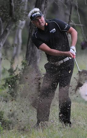 SAN ANTONIO, TX- MAY 13: Daniel Chopra hits out of the rough on the 1st hole  during the first round of the Valero Texas Open at the TPC San Antonio on May 13, 2010 in San Antonio, Texas. (Photo by Marc Feldman/Getty Images)