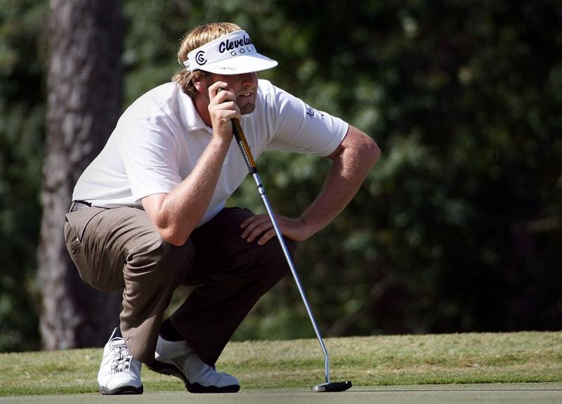LAKE BUENA VISTA, FL - NOVEMBER 9:  Steve Marino prepares to putt on the third hole, during the final round at the Children's Miracle Network Classic at Disney Magnolia golf course November 9, 2008 in Lake Buena Vista, Florida. (Photo by Marc Serota/Getty Images)