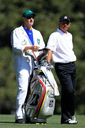 AUGUSTA, GA - APRIL 09:  Fred Couples waits with his caddie Joe Lacava on the fifth hole during the second round of the 2010 Masters Tournament at Augusta National Golf Club on April 9, 2010 in Augusta, Georgia.  (Photo by David Cannon/Getty Images)