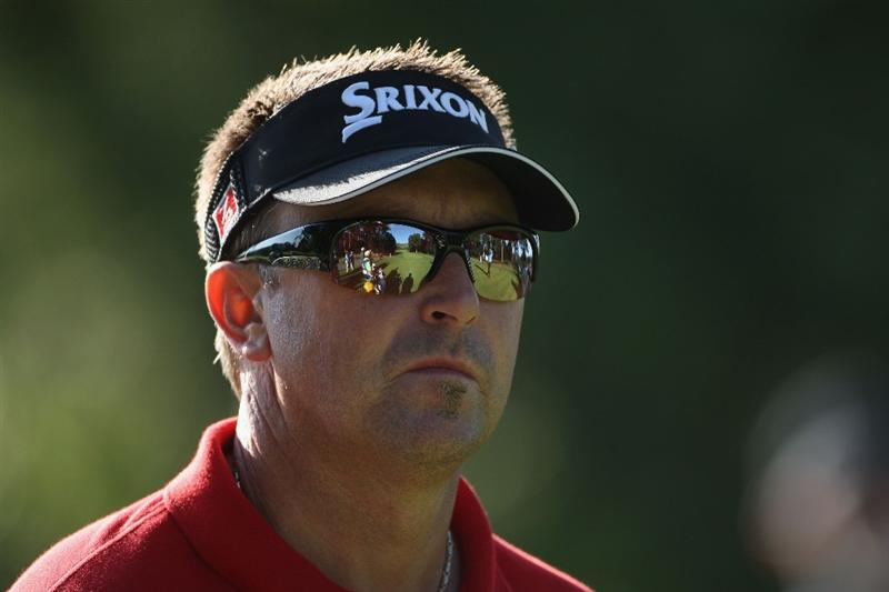 LUSS, SCOTLAND - JULY 10:  Robert Allenby of Australia looks on during the Second Round of The Barclays Scottish Open at Loch Lomond Golf Club on July 10, 2009 in Luss, Scotland.  (Photo by Andrew Redington/Getty Images)