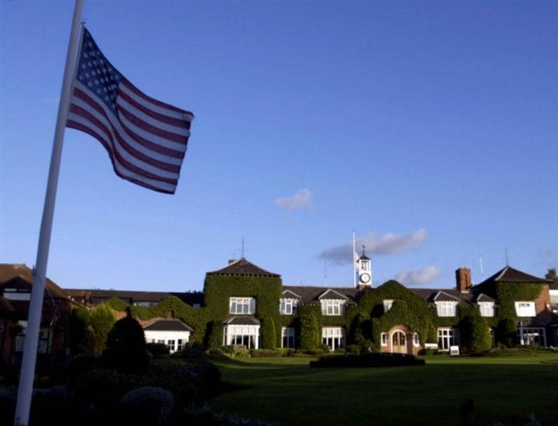 16 Sep 2001:  The Stars and Strips fly at half mast at the Belfry behind the 18th green at the Brabazon Golf Course  near Birmingham. DIGITAL IMAGE. Mandatory Credit: Ross Kinnaird/ALLSPORT