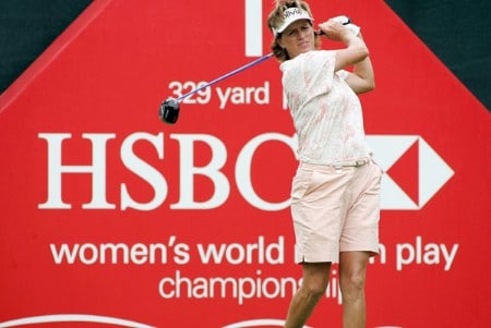 Rosie Jones tees off on the first hole during first round action of the HSBC Women's World Match Play Championship at Hamilton Farm Golf Club in Gladstone, NJ on Wednesday, June 30, 2005. (WireImage Photo/Richard Schultz)Photo by Richard Schultz/WireImage.com