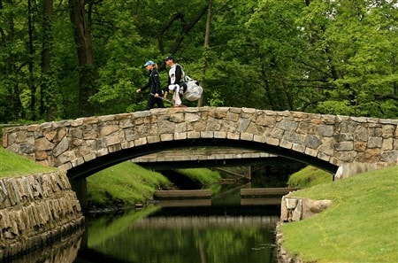 CLIFTON, NJ - MAY 15:  Annika Sorenstam of Sweden walks with her caddie Terry McNamara to the fifth green during the first round of the Sybase Classic presented by ShopRite on May 15, 2008 at the Upper Montclair Country Club in Clifton, New Jersey.  (Photo by Travis Lindquist/Getty Images)
